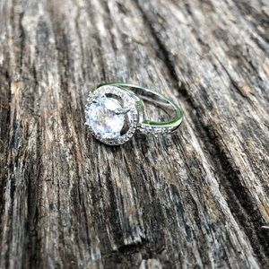 Jewelry - Sterling silver cushion set CZ engagement ring 8.5